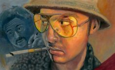"A painting of Johnny Depp playing Hunter S. Thompson in the movie ""Fear and Loathing in Las Vegas"". I took a movie still and used that as a base to create the illustration. The original piece is fo..."