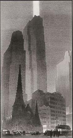 GE Building, Raymond Hood, 1933 Harlem Renaissance, Illustrations, Illustration Art, Cyberpunk City, Art Deco Buildings, Environment Design, Dieselpunk, Art And Architecture, Art Nouveau