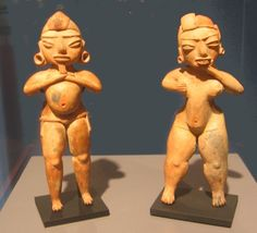 """Tlatilco culture ceramic figurines. The figure on the left is identified as an """"Old God"""" figurine Mexico"""