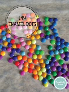 How to Make Cheap DIY Enamel Dots for Crafts by Persnickety Mama Card Making Tips, Card Making Tutorials, Card Making Techniques, Making Ideas, Candy Cards, Dylan's Candy, Melting Beads, Scrapbook Embellishments, Pony Beads