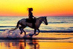 Horseback riding on the beach<3
