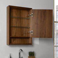Fairmont Designs Medicine Cabinet Natural Walnut 20 x x 30 Bathroom Shelf Unit, Wooden Bathroom Vanity, Wall Mounted Bathroom Cabinets, Mirror Cabinets, Wood Cabinets, Fairmont Designs, Beveled Edge Mirror, Plywood Shelves, Wall Painting Decor