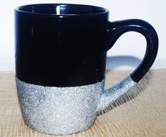 Soy Candle in Glitter Mug Black and Silver by DancingWindDesigns