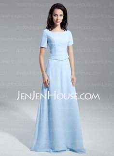A-Line/Princess Scoop Neck Floor-Length Chiffon Mother of the Bride Dresses With Ruffle (008014954)