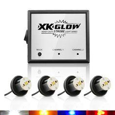 4x4 Watt Super Bright Hide Away High Power 12V Auto LED Strobe Light Kit -20 Flash Modes