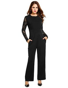 a3aa385b4a5 ANGVNS Women s Black Long Sleeve High Waist Wide Leg Lace Playsuit Club  Cocktail Jumpsuit Romper at Amazon Women s Clothing store