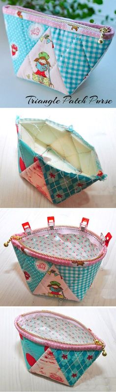 Patchwork Quilted Zipper Purse. Tutorial DIY in Pictures. http://www.handmadiya.com/2015/11/triangle-patch-purse.html