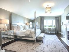Mirrored Furniture, elegant traditional bedroom w 4 poster bed