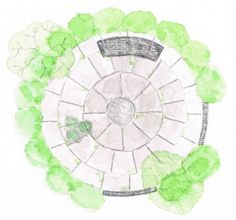 A circular garden retreat with evergreen planting, sandstone paving and stone bench 2015.