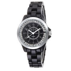 Watch Name: Watch Women Model Number: Watch Women Strap Size Watch Women Case Size: Watch Weight: OZ Color: Silver case,black band Belt Material: Ceramic Watch Case Material: Rubber Movement: Japanese Quartz Movement Fashion Watches, Bracelet Watch, Watches For Men, Jewelry Watches, Quartz, Fashion Jewelry, Bling, Ceramics, Silver