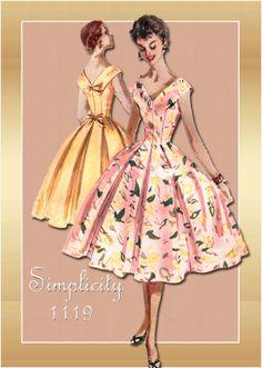 Simplicity 1119--Dressy Dress with Princess Seams Hidden In Wide Skirt Pleats
