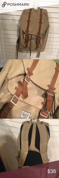Herschel little america backpack Tan/ brown herschel backpack. Great support for your back! Comes with a laptop pouch. Very clean inside. No holes or tears. Strap stitching looks a little scuffed. Price is low due to not perfect condition. Paid $100 for it. Herschel Supply Company Bags Backpacks
