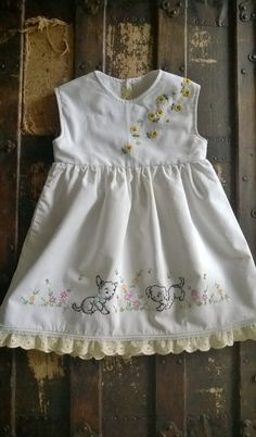 Toddler Dress, Vintage Embroidered Pillowcase Dress, 2T, Playful Puppies, Handmade