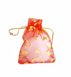 Organza Bags - 15 Red Sheer Voile Drawstring Bag with Pretty Foil Hearts - 12cm x 10cm Drawstring Bags for Jewelry - Party Favor Bags #etsyshop #craftsupply #jewelrysupplies