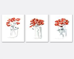 Red Poppy Print Set watercolor print set floral gift up to 11x16 nursery art express shipping