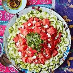 BH&G - Spicy Watermelon Salad - Yuzu is a fragrant Asian citrus. Buy yuzu juice at Asian markets or online to create this summery side dish salad recipe. Fresh Salad Recipes, Cucumber Recipes, Watermelon Recipes, Potluck Side Dishes, Healthy Side Dishes, Watermelon Salad, Cucumber Salad, Feta Salad, Healthy Potluck