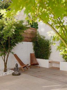 bambus pflanzen hecke kübel terrasse buddha statue holz sessel
