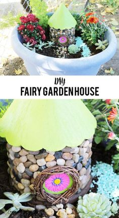 DIY Fairy Garden House. Create a beautiful fairy garden house with supplies you find at your local craft store - like an unfinished birdhouse and stones. #laurascraftylife #fairygarden #diy