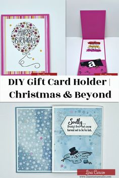 Look for DIY gift card holder ideas? Whether you need Christmas gift card holder, Birthday or beyond this DIY gift idea is perfect for many on your list. Watch the video at www.lisasstampstudio.com #diygiftcardholder #christmasgiftcardholders #diychristmas #giftcardideas #giftideas #diygifts #papercrafts #cardmaking #lisacurcio #lisasstampstudio