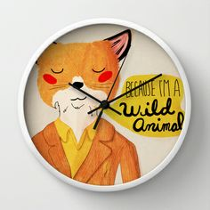 its official my baby will have a fantastic mr. fox bedroom.  Because I'm a Wild Animal Wall Clock by Nan Lawson - $30.00