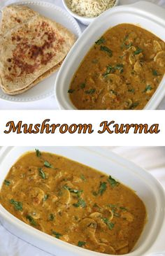 Mushroom Kurma is a very yummy and easy side dish for chapati, poori or rice. You can prepare this curry in no time. Kurma is made with yogurt, cashews, coconut and spices. In this curry, the Mushroom Veg Recipes, Curry Recipes, Indian Food Recipes, Vegetarian Recipes, Cooking Recipes, Recipies, Recipes Dinner, Urad Dal Recipes, Peanut Recipes