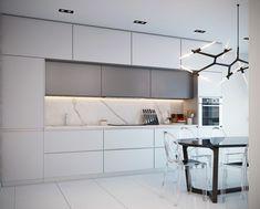 mármol gris y blanco en la cocina