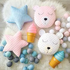 ♥ These lovely cushions are handmade and designed by me. Very soft and so nice to touch. Material: plush Minky and cotton. Stuffed with an anti allergenic stuffing. ♥ Safe play, nice to hug and to sleep with. ♥ If you need a custom order, it will be ready for dispatch within a week.