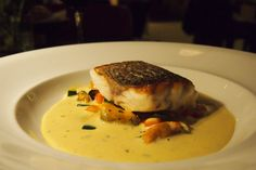 The Ten Room - London Restaurant Festival 2014 | Cornish sea bass and spiced mussel broth.