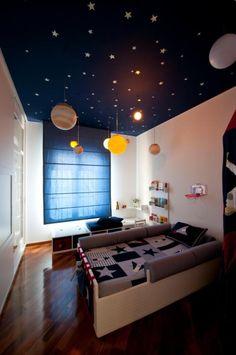 Habitación infantil espacial : Una encantadora habitación decorada con temática Espacial donde destaca el techo decorado con estrellas e iluminado, los planetas y la decoración textil co