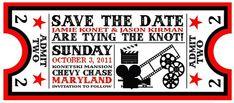 Wedding Save the Date Ticket Ideas Invitation Ticket, Carton Invitation, Red Carpet Party, Red Carpet Event, Wedding Save The Dates, Save The Date Cards, Deco Theme Cinema, Wedding Stationary, Wedding Invitations