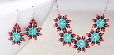GoodyBeads | Blog: superduo poinsettia-style southwestern necklace earrings with FREE tutorial