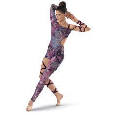 Annie?  Asymmetrical Tie-Dye Wrap Unitard; Balera  $49.95  Sizes: S, M, L, XL  Colors: Purple