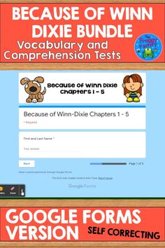 Are you looking for quick comprehension assessments for Because of Winn-Dixie? This resource includes 5 vocabulary and comprehension tests in multiple-choice format in Google Forms™ to use in Google Classroom™. These tests are for assessing every 5 chapters. The vocabulary quizzes include 6 questions and the comprehension tests have 10 questions. The book is great for shared reading, guided reading, a novel study, and literature circles. #thefroggyfactory #3rdgradereading #reading #guidedreading Teaching Math, Teaching Resources, Literacy Circles, Guided Reading Groups, Literature Circles, 3rd Grade Reading, Shared Reading, Multiple Choice, Fifth Grade