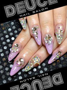 Rhinestones & Lavender Stiletto Nails