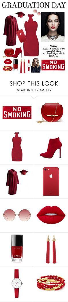 """Velvet red beauty"" by dana-fahs ❤ liked on Polyvore featuring Angela Valentine Handbags, Linda Farrow, Lime Crime, Chanel, Yves Saint Laurent, Skagen and Chrysalis"