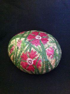 Rocks Painted Like Flowers | pink flowers - painted rock