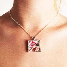 Liberty floral square necklace