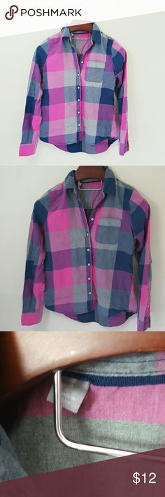 Pink + Purple plaid button up| small In excellent condition! PINK and purple plaid button up shirt.  Size small. Slight high-low hem.  Bundle up! Offers always welcome:) Tops