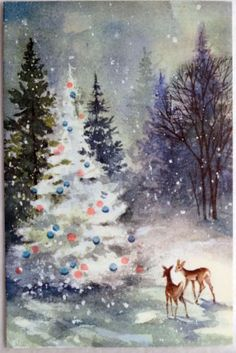 #127 60s Deer in the Snowy Woods-Pink Ornaments-Vintage Christmas Greeting Card