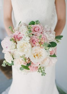 ivory and blush rose, peony and hydrangea bouquet by Teresa Gausman of Premiere Events