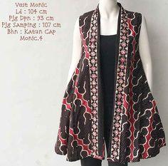 Model Outer Batik Tanpa Lengan Monic 2019 Batik Blazer, Blouse Batik, Batik Dress, Batik Fashion, Abaya Fashion, Outer Batik, Batik Kebaya, Pakistani Dresses Casual, Fashion Design Sketches