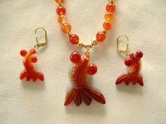Hand Carved Carnelian Gold Fish Pendant Necklace and Fish Earrings, by JewelrybyIshi, $75.00