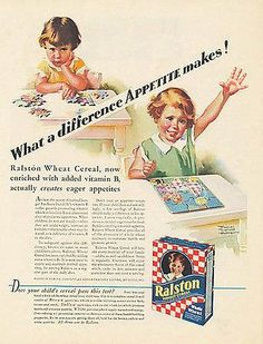 """paperinkgraphics id: ads5035 Frances Tipton Hunter Artist Toy Puzzle Illustration 1931 Ralston Cereal Ad This is a paper AD measuring approximately 10"""" x 13.5"""" AD is in Very Good Condition as shown an"""