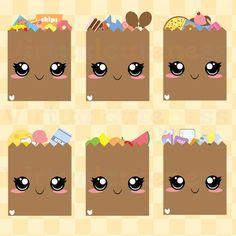 Kawaii Grocery Clipart  Cute Shopping Bag by Virtualcuteness