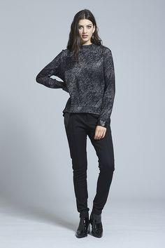 """The """"Raise Hell Sweater"""" is Winter's risk proof investment, a roomy high neck sweater. The relaxed style has a flattering rounded hem & patent leather cuffs to add a little under the radar luxe.We think it looks killer with our """"Dare Devil Pant"""" Leather Cuffs, Women Wear, Normcore, Sweaters, How To Wear, Clothes, Style, Fashion, Outfits"""