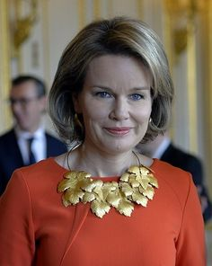 King Philippe of Belgium and Queen Mathilde of Belgium held a royal reception for the newly appointed suppliers holding the 'Royal warrant of appointment' at Royal Palace in Brussels on December 8, 2015.