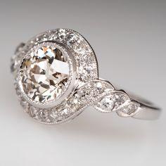 Platinum 1930's Antique Halo Engagement Ring