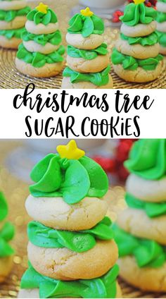 Adorable and delicious stacked Christmas Tree Sugar Cookies! #yummy #Christmas #cookies