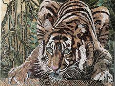 Mosaic - Drinking Tiger - tigre se désaltérant - by Anne BEDEL