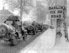 Illustration montrant quelques-uns des conditions difficiles de la guerre d'hiver dans les Ardennes Illustration showing some of the harsh conditions of winter warfare in the Bulge